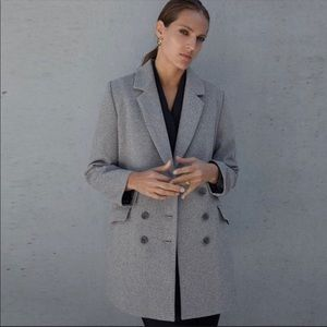 ZARA GRAY DOUBLE BREASTED BUTTONED COAT L